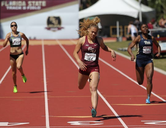 Florida State junior Janae Caldwell runs the 400-meter dash during Friday's college portion of the FSU Relays at Mike Long Track on March 22, 2019.