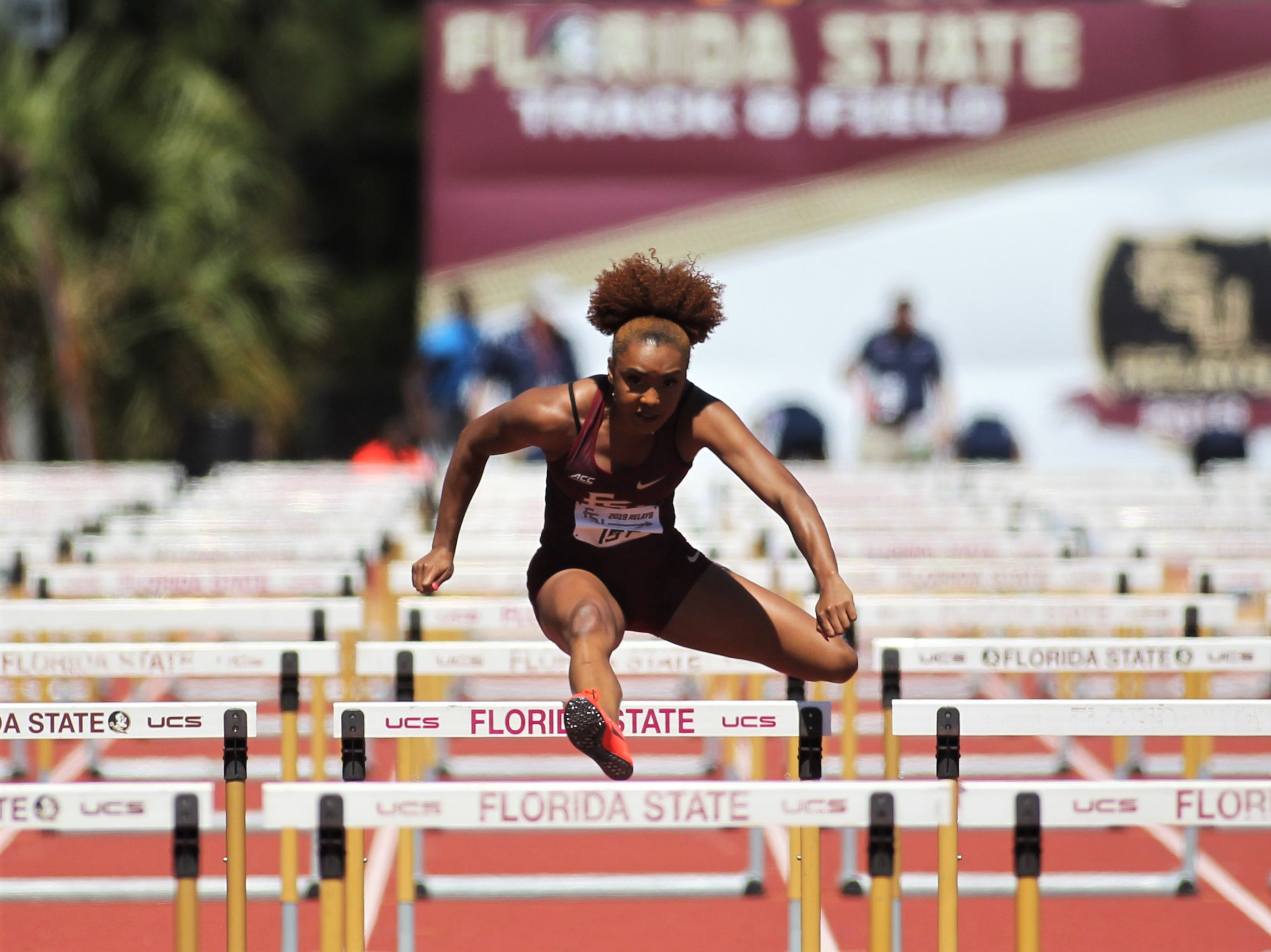 Florida State junior Cortney Jones competes in the 100-meter hurdles during Friday's college portion of the FSU Relays at Mike Long Track on March 22, 2019.