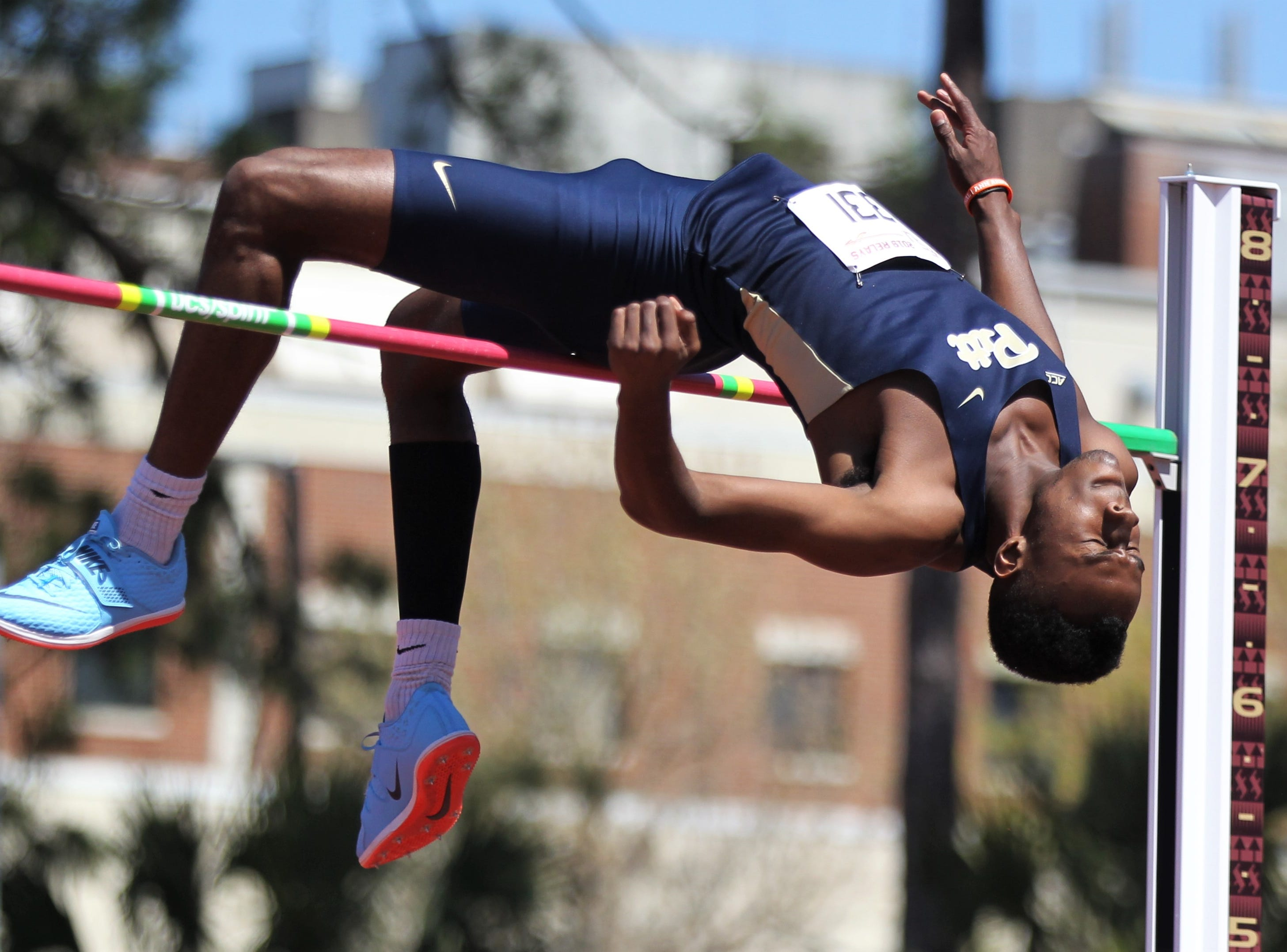 Pittsburgh sophomore Greg Lauray competes in high jump during Friday's college portion of the FSU Relays at Mike Long Track on March 22, 2019.