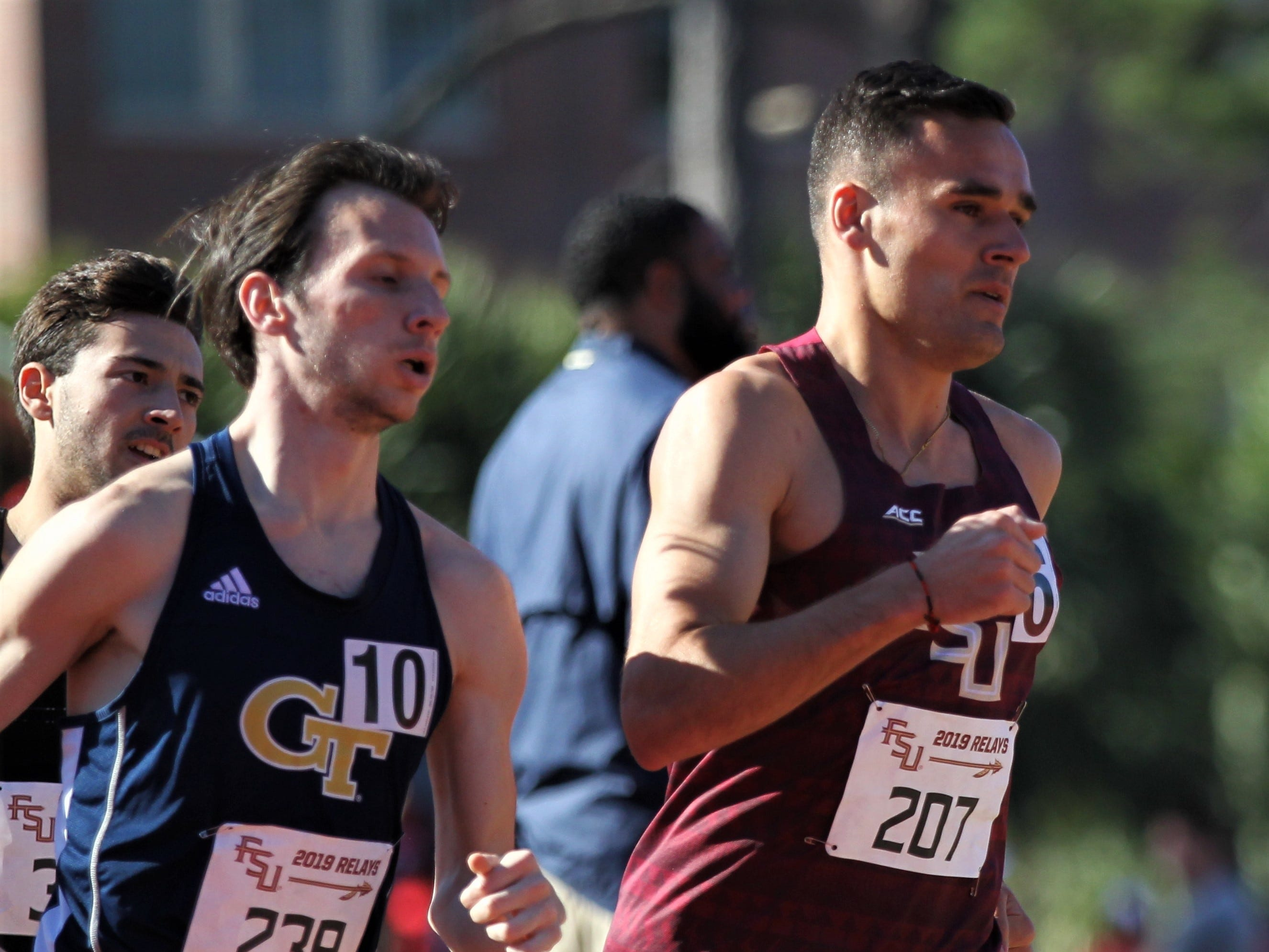 Florida State senior Istvan Szogi races the 1500-meter run during Friday's college portion of the FSU Relays at Mike Long Track on March 22, 2019.
