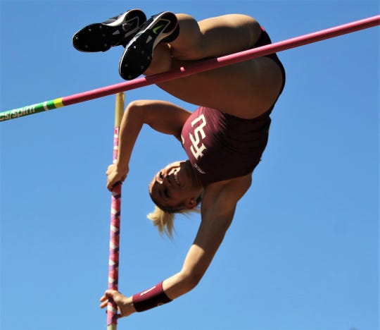 Florida State junior Nicole Breske pole vaults during Friday's college portion of the FSU Relays at Mike Long Track on March 22, 2019.