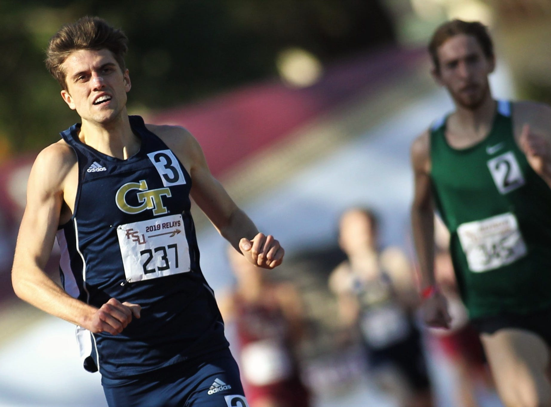 Georgia Tech senior Avery Bartlett, a Chiles alum, races to a win in the 1500-meter run during Friday's college portion of the FSU Relays at Mike Long Track on March 22, 2019.