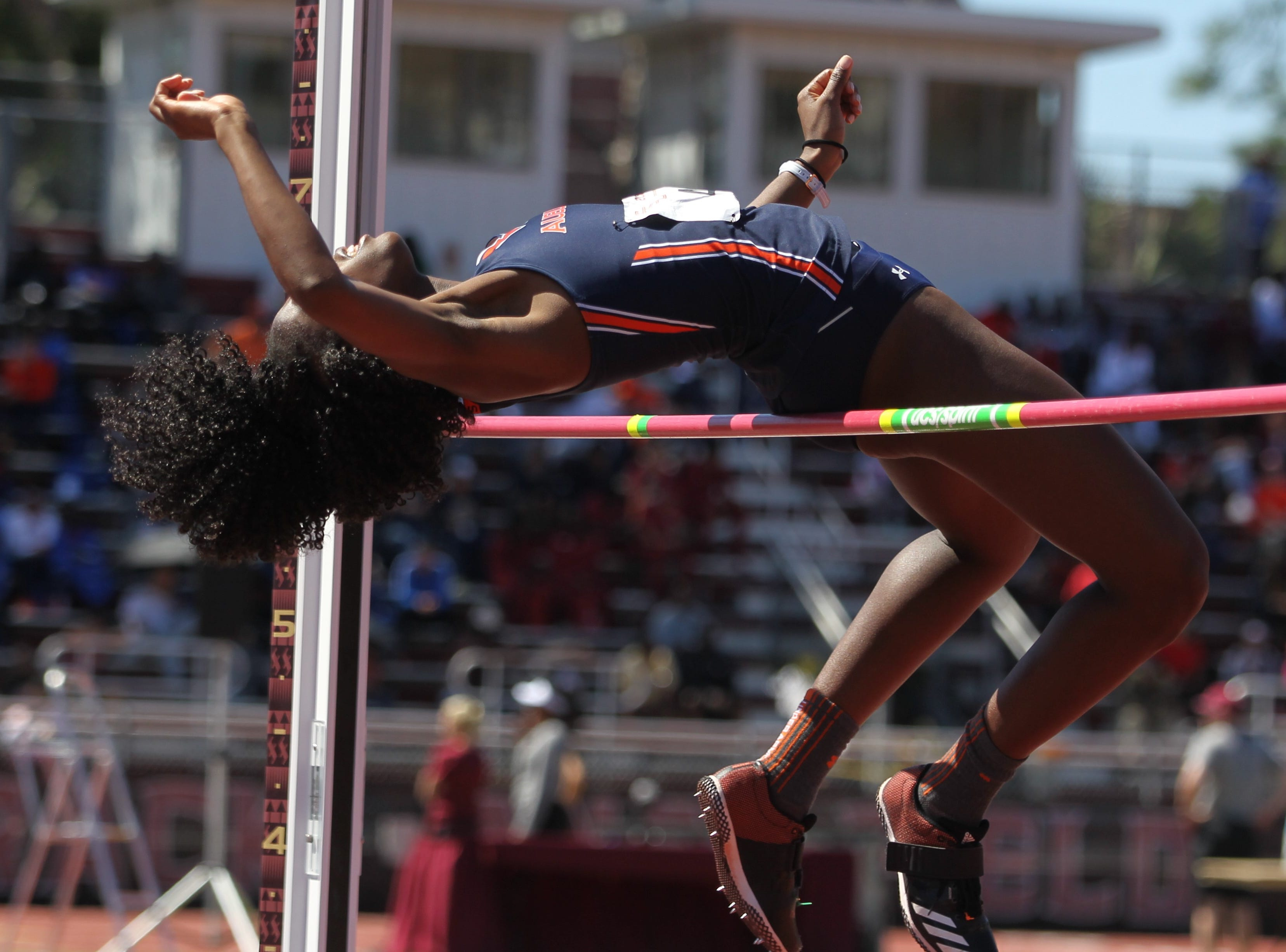 Auburn junior Natosha Jordan high jumps during Friday's college portion of the FSU Relays at Mike Long Track on March 22, 2019.