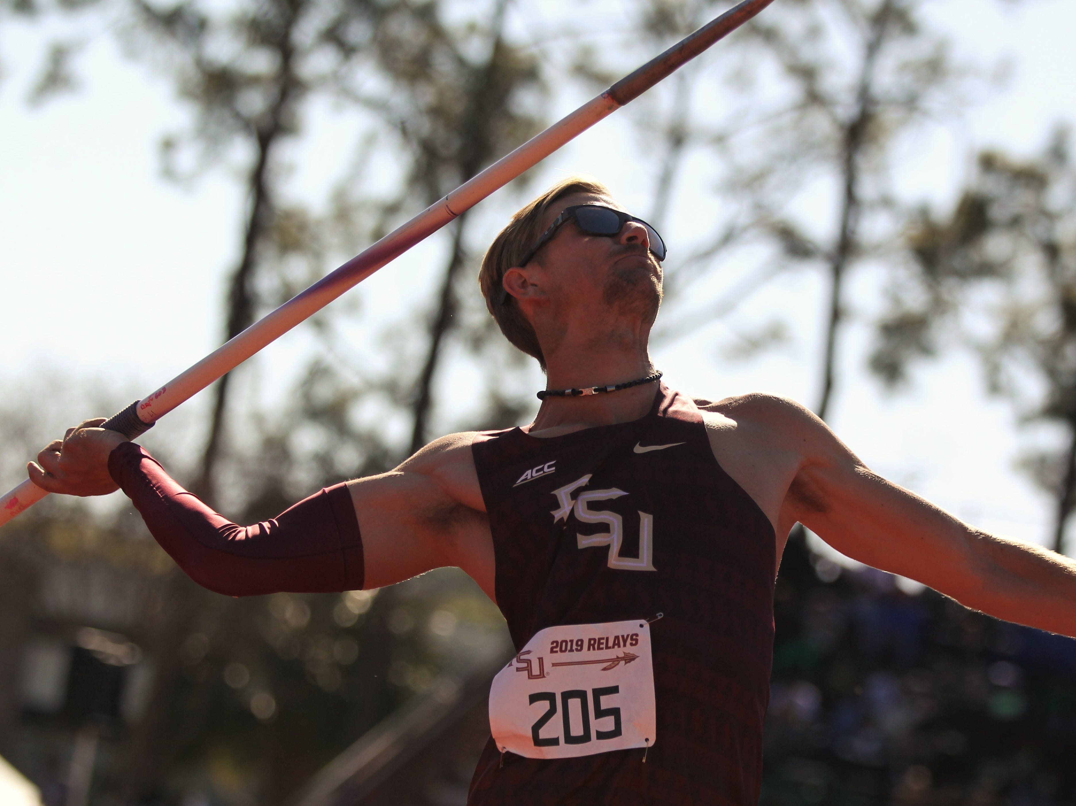 Florida State junior David Lott throws javelin during Friday's college portion of the FSU Relays at Mike Long Track on March 22, 2019.