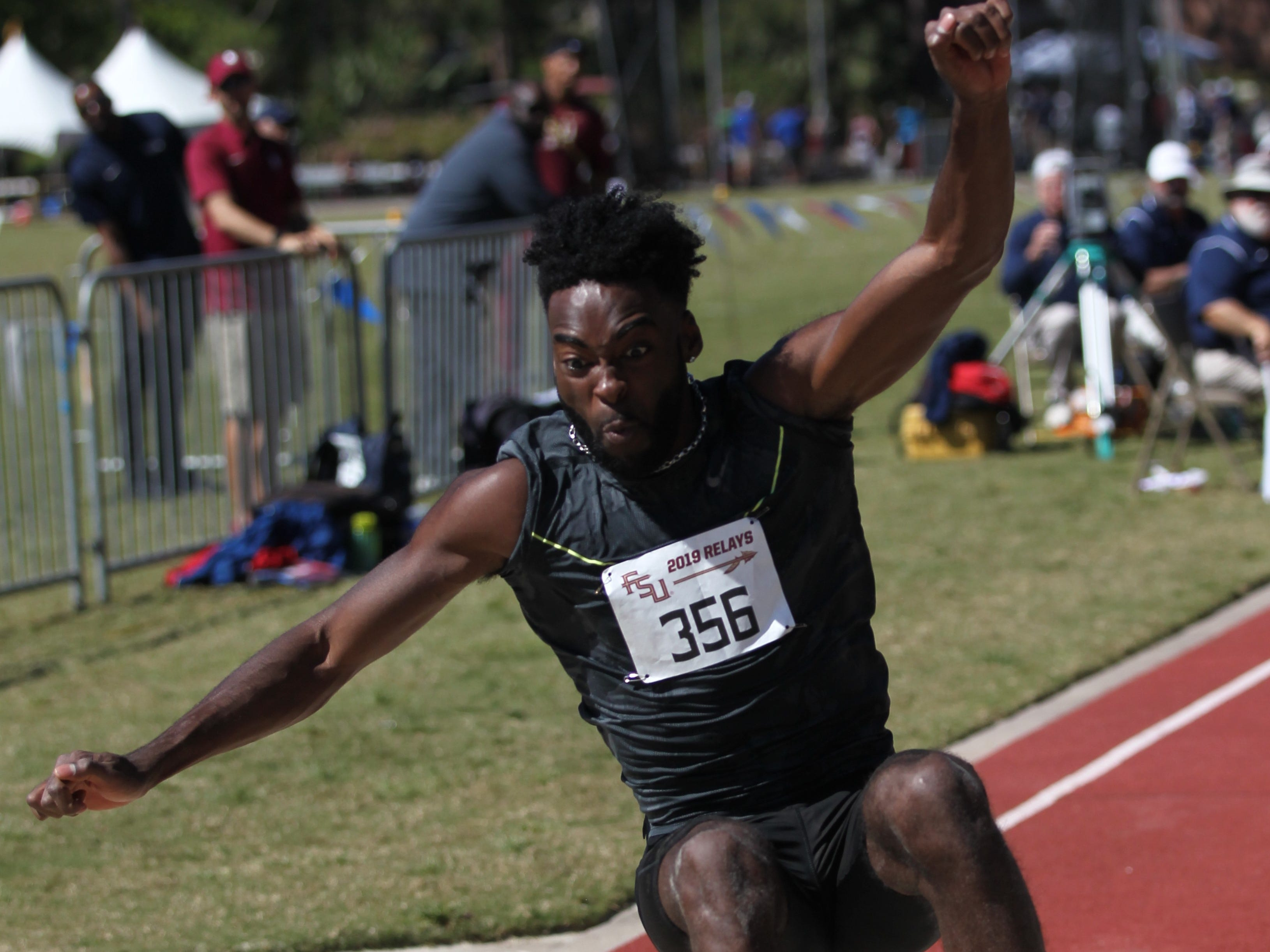 Men's triple jump during Friday's college portion of the FSU Relays at Mike Long Track on March 22, 2019.