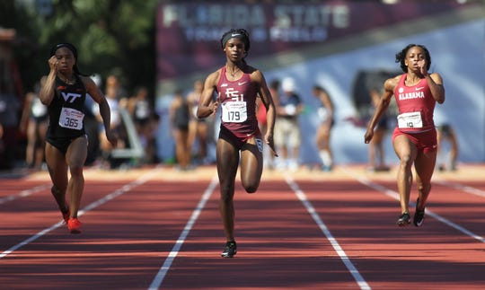 Florida State sophomore Ka'Tia Seymour sprints the 100-meter dash during Friday's college portion of the FSU Relays at Mike Long Track on March 22, 2019.