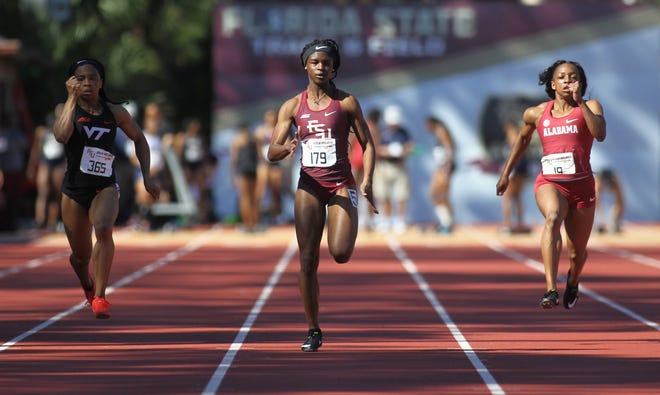 Florida State's Ka'Tia Seymour sprints the 100-meter dash. The former Palatka sprint champion is among several contenders from the area at the NCAA East Preliminary for track.