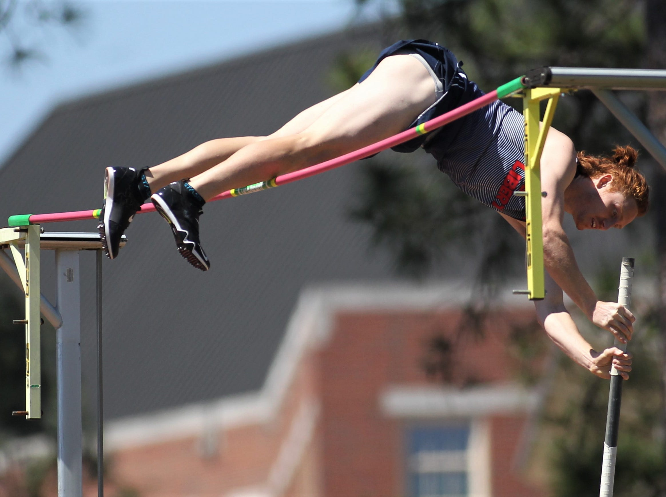 Liberty junior Reilly Stroot competes in pole vault during Friday's college portion of the FSU Relays at Mike Long Track on March 22, 2019.