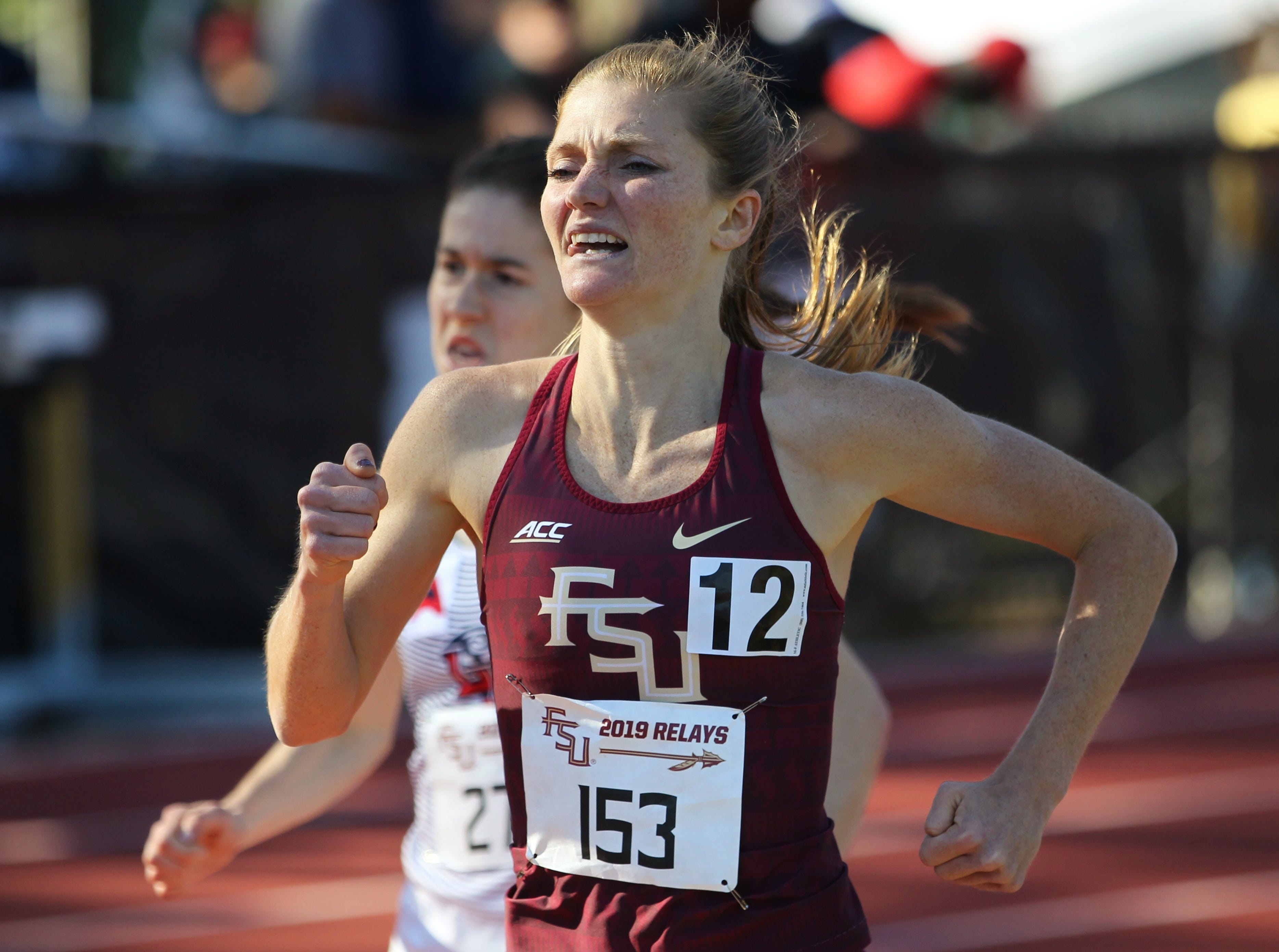 Florida State senior Althea Hewitt finishes the 1500-meter run during Friday's college portion of the FSU Relays at Mike Long Track on March 22, 2019.