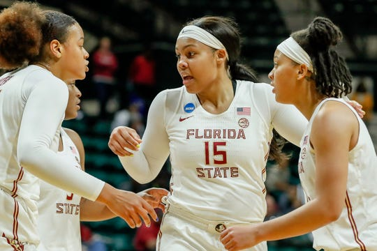 Kiah Gillespie (15) led the Seminoles with 17 points in their 70-67 win over Bucknell in the NCAA Tournament First Round Friday.