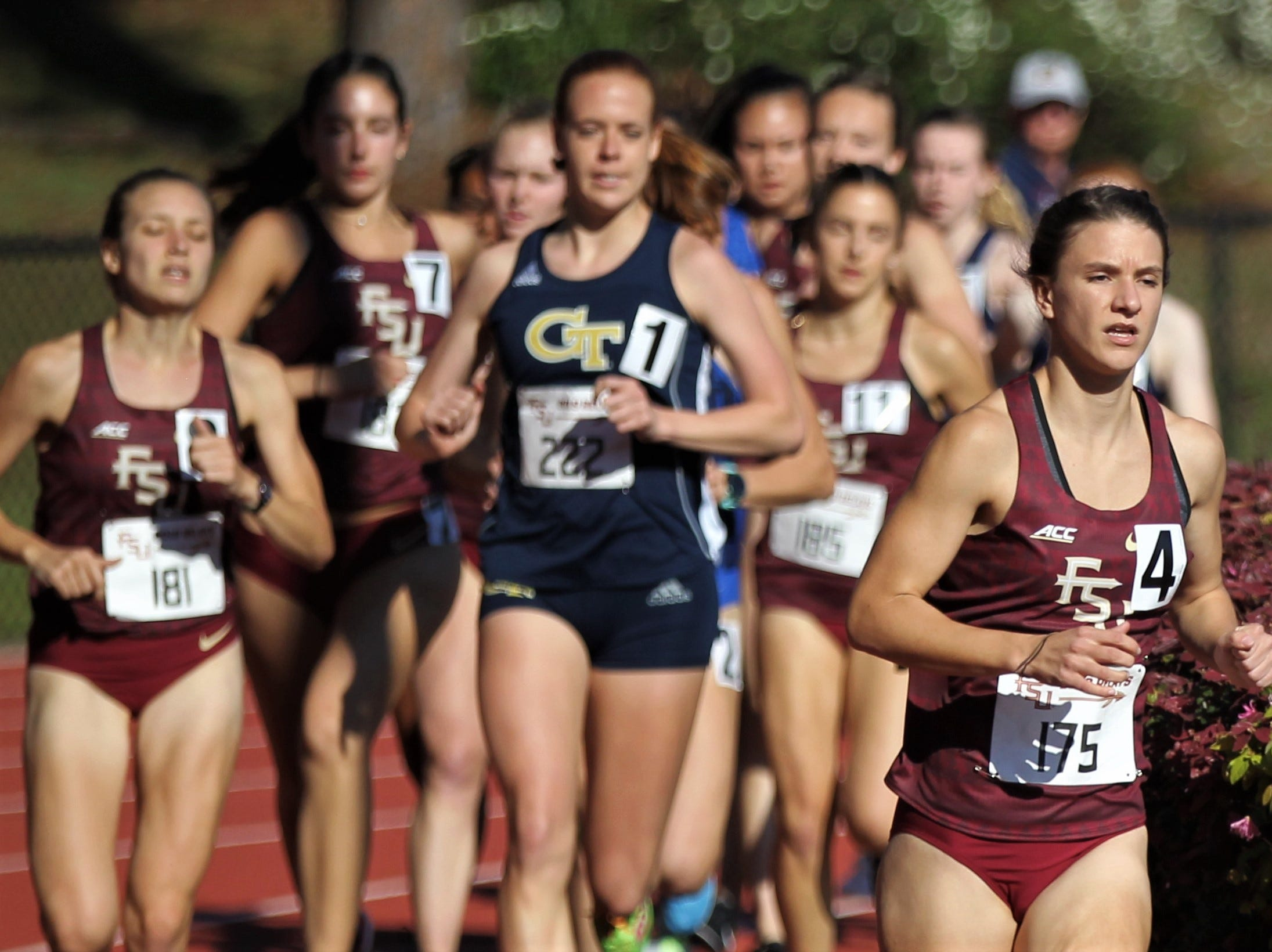 Florida State sophomore Sarah Parrish races the 1500-meter run during Friday's college portion of the FSU Relays at Mike Long Track on March 22, 2019.
