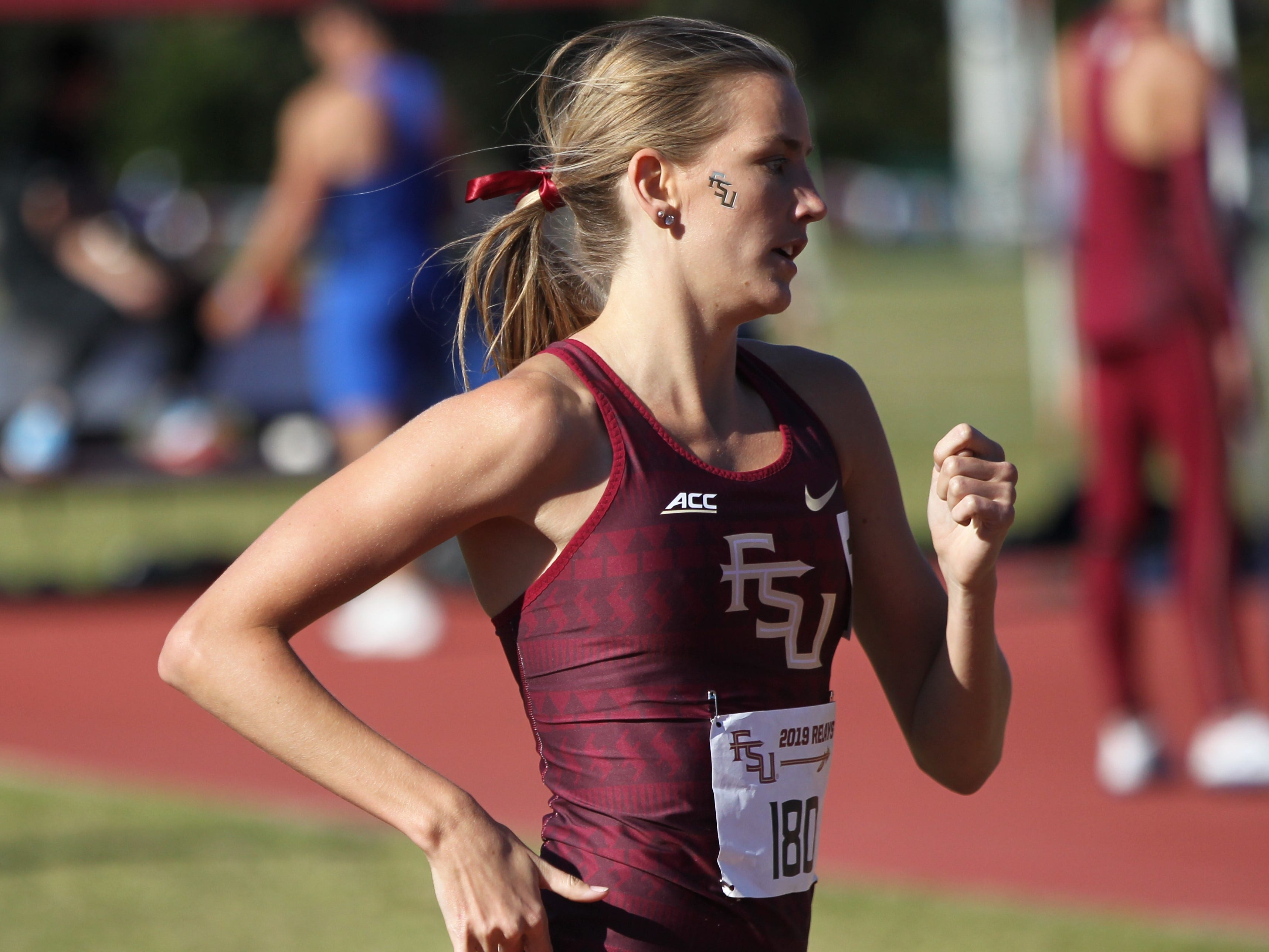 Florida State sophomore Maudie Skyring races the 1500-meter run during Friday's college portion of the FSU Relays at Mike Long Track on March 22, 2019.