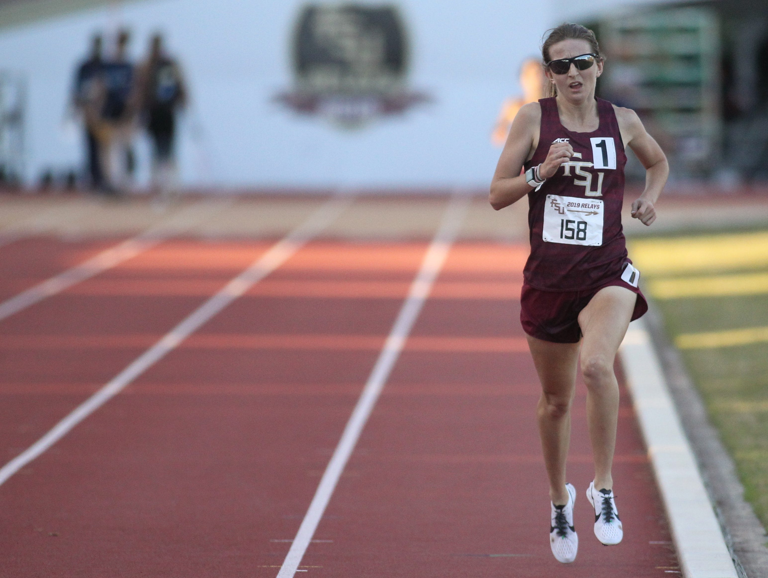 Florida State sophomore Jodie Judd races to a win in the 5000-meter run during Friday's college portion of the FSU Relays at Mike Long Track on March 22, 2019.