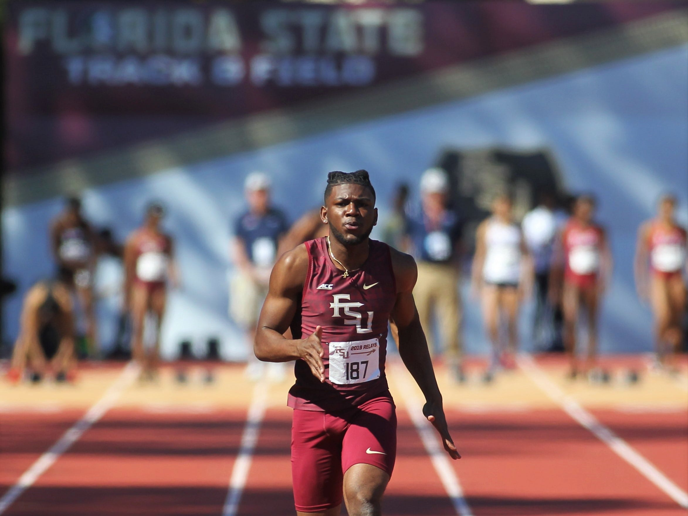 Florida State freshman Antoine Roodolph sprints the 100-meter dash during Friday's college portion of the FSU Relays at Mike Long Track on March 22, 2019.