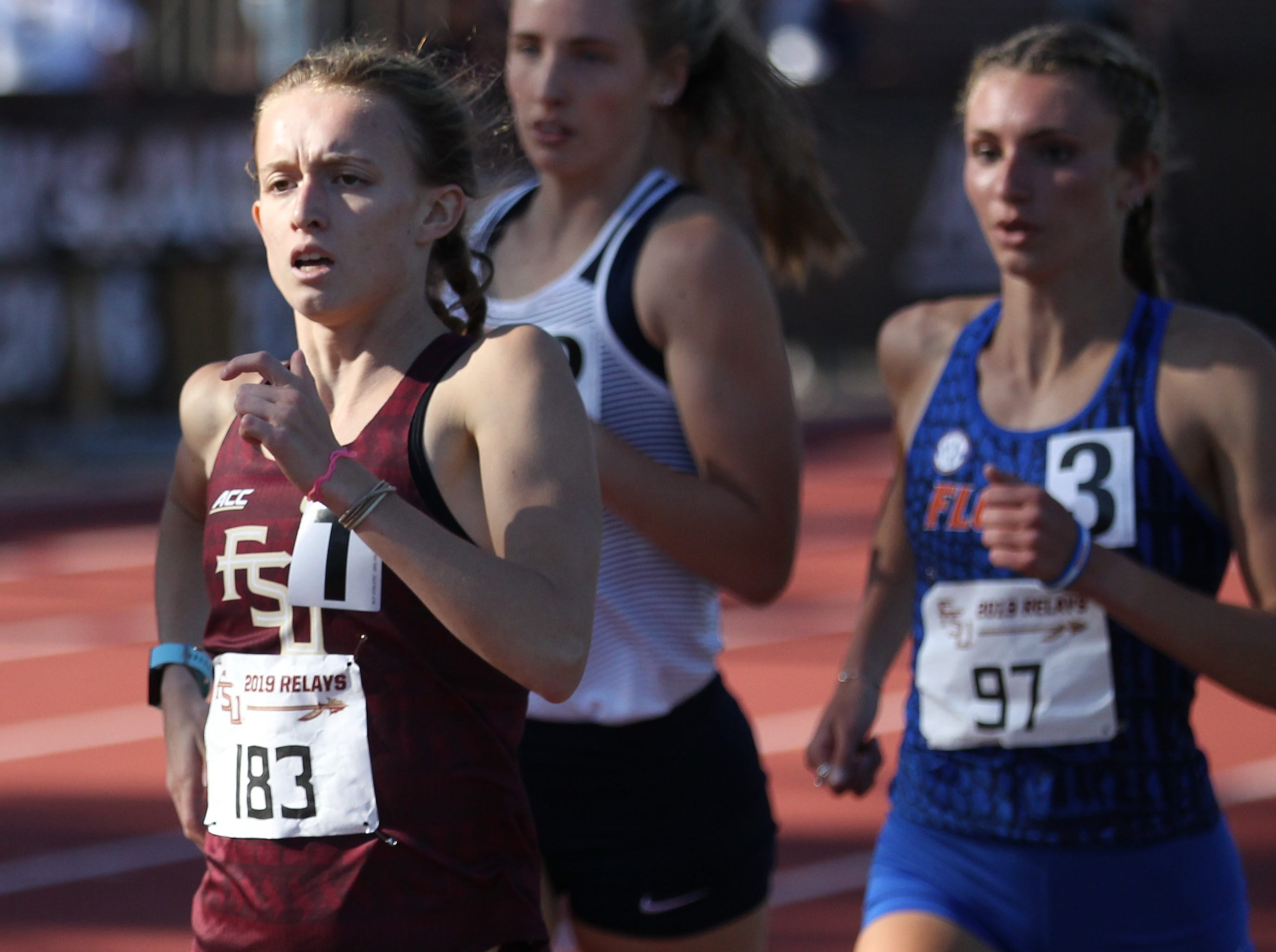 Florida State junior Eleanor Wallace races the 1500-meter run during Friday's college portion of the FSU Relays at Mike Long Track on March 22, 2019.