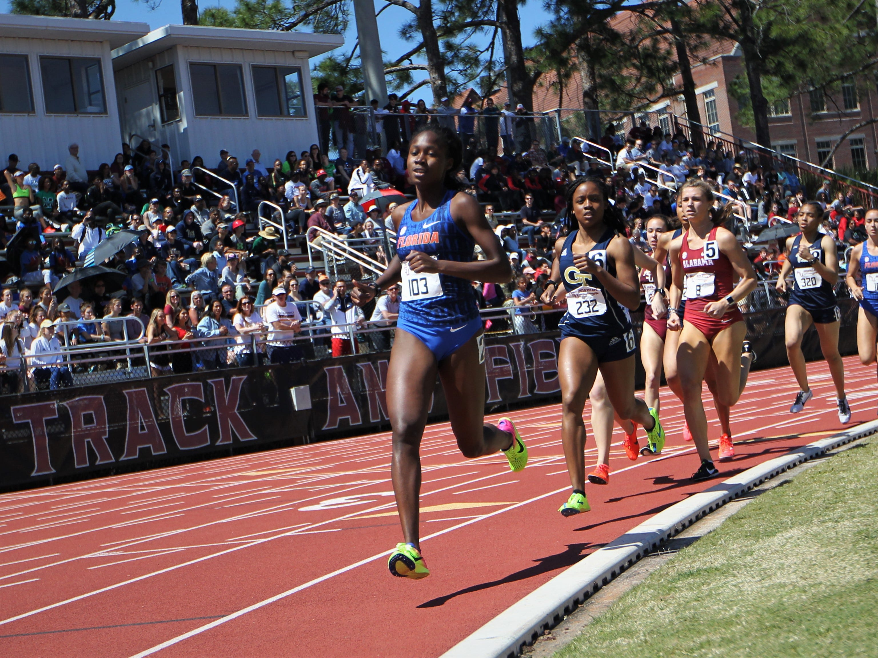 The women's 800-meter run during Friday's college portion of the FSU Relays at Mike Long Track on March 22, 2019.