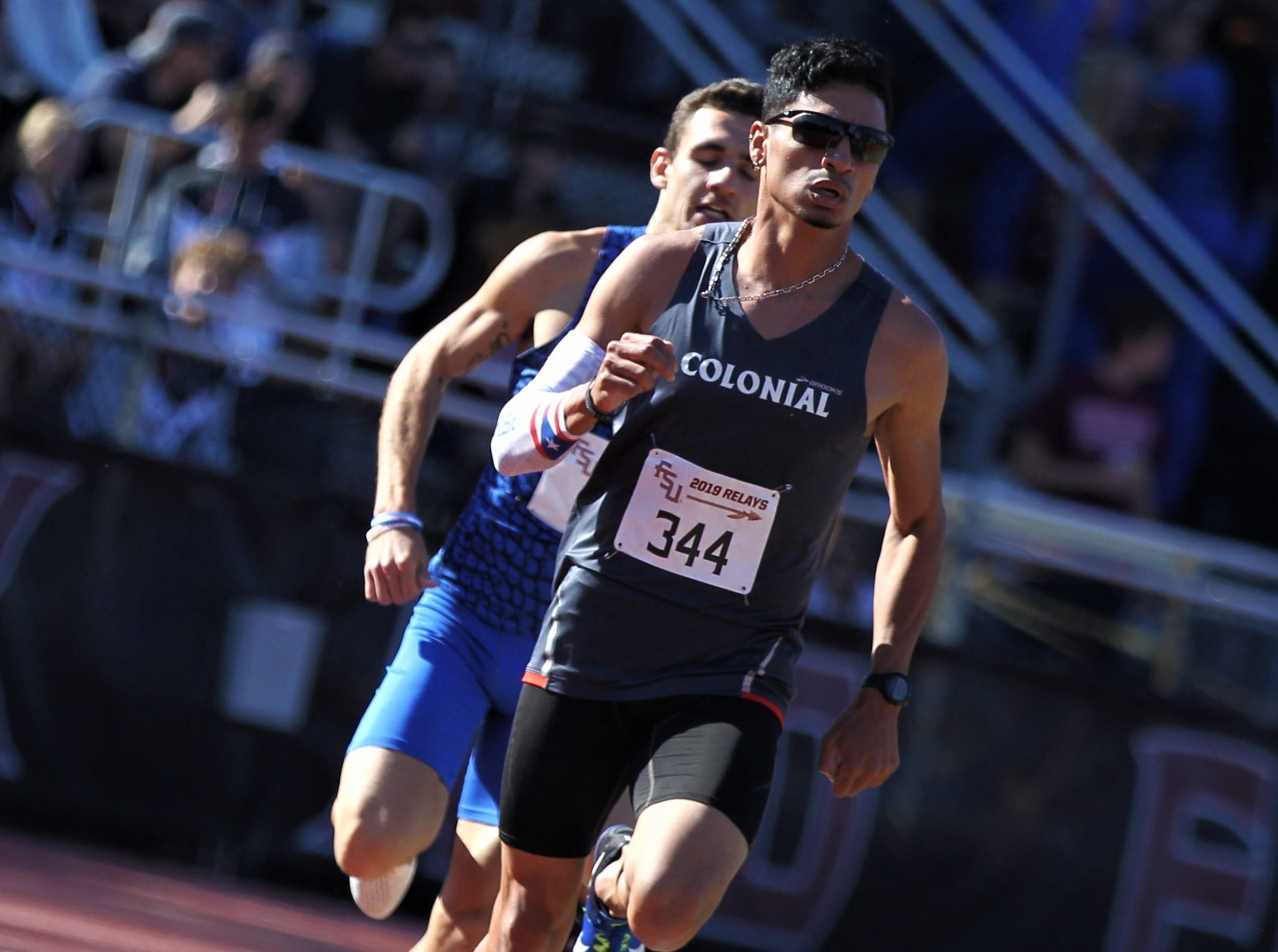 Andres Arroyo leads the 1500-meter run during Friday's college portion of the FSU Relays at Mike Long Track on March 22, 2019.