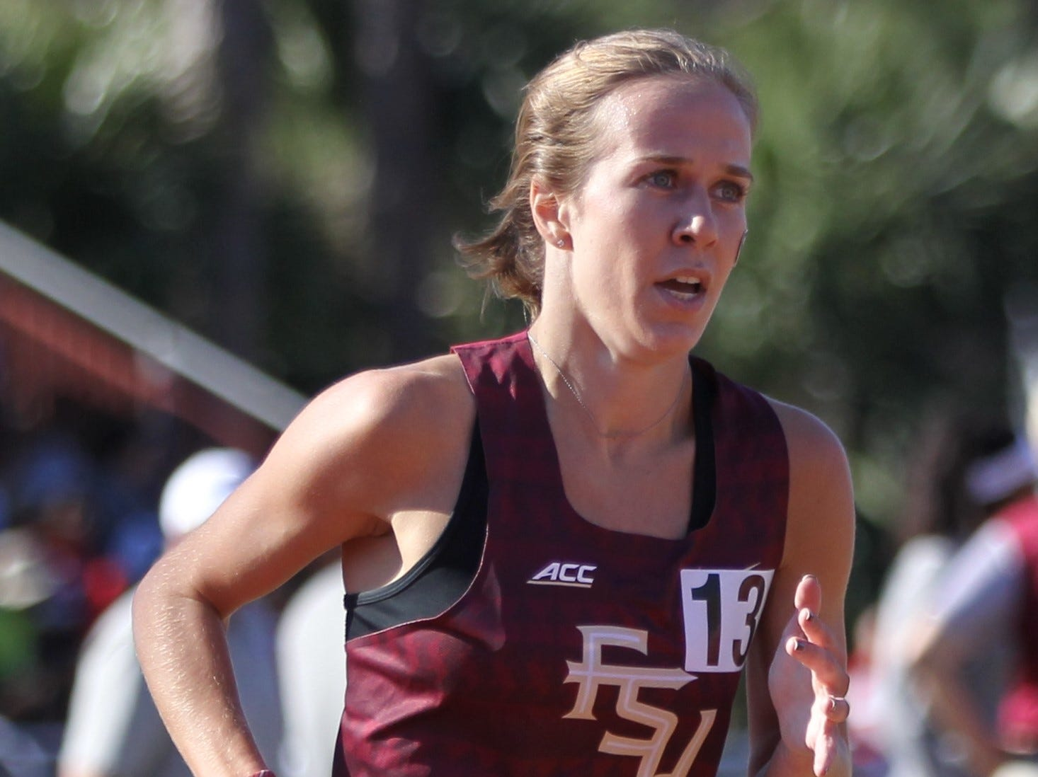 Florida State sophomore Jennifer Lima races the 1500-meter run during Friday's college portion of the FSU Relays at Mike Long Track on March 22, 2019.