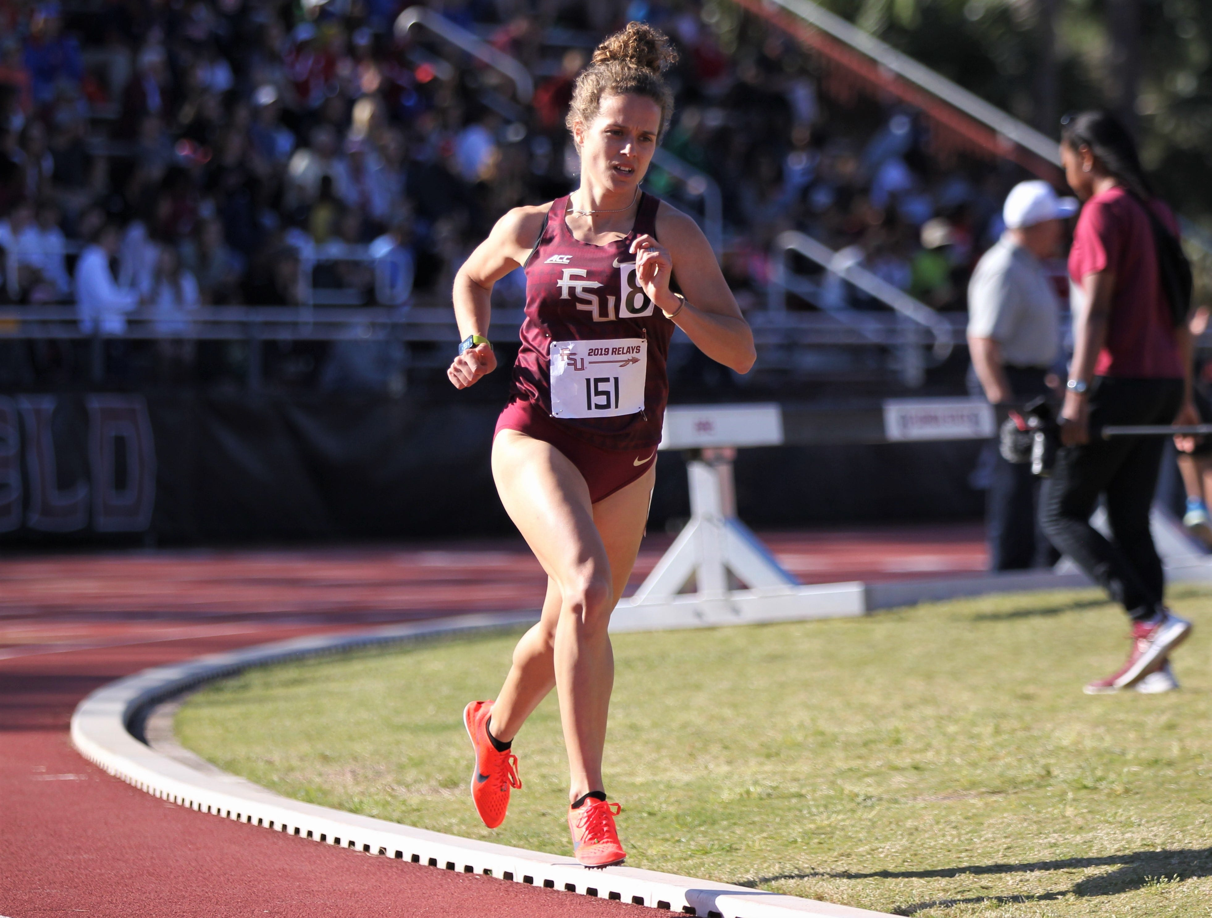 Florida State senior Madison Harrison, a Wakulla alum, races the 1500-meter run during Friday's college portion of the FSU Relays at Mike Long Track on March 22, 2019.
