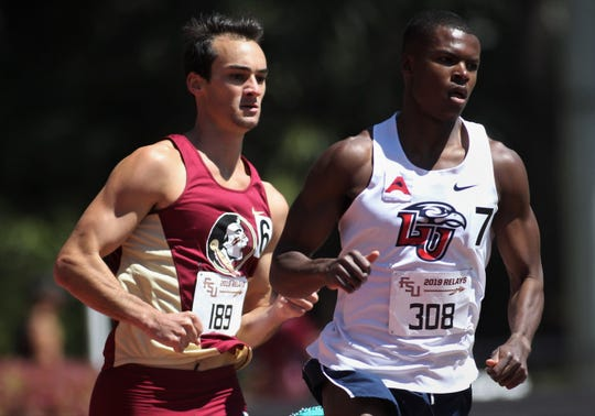 Florida State senior Matthew Butler competes in the 800-meter run during Friday's college portion of the FSU Relays at Mike Long Track on March 22, 2019.
