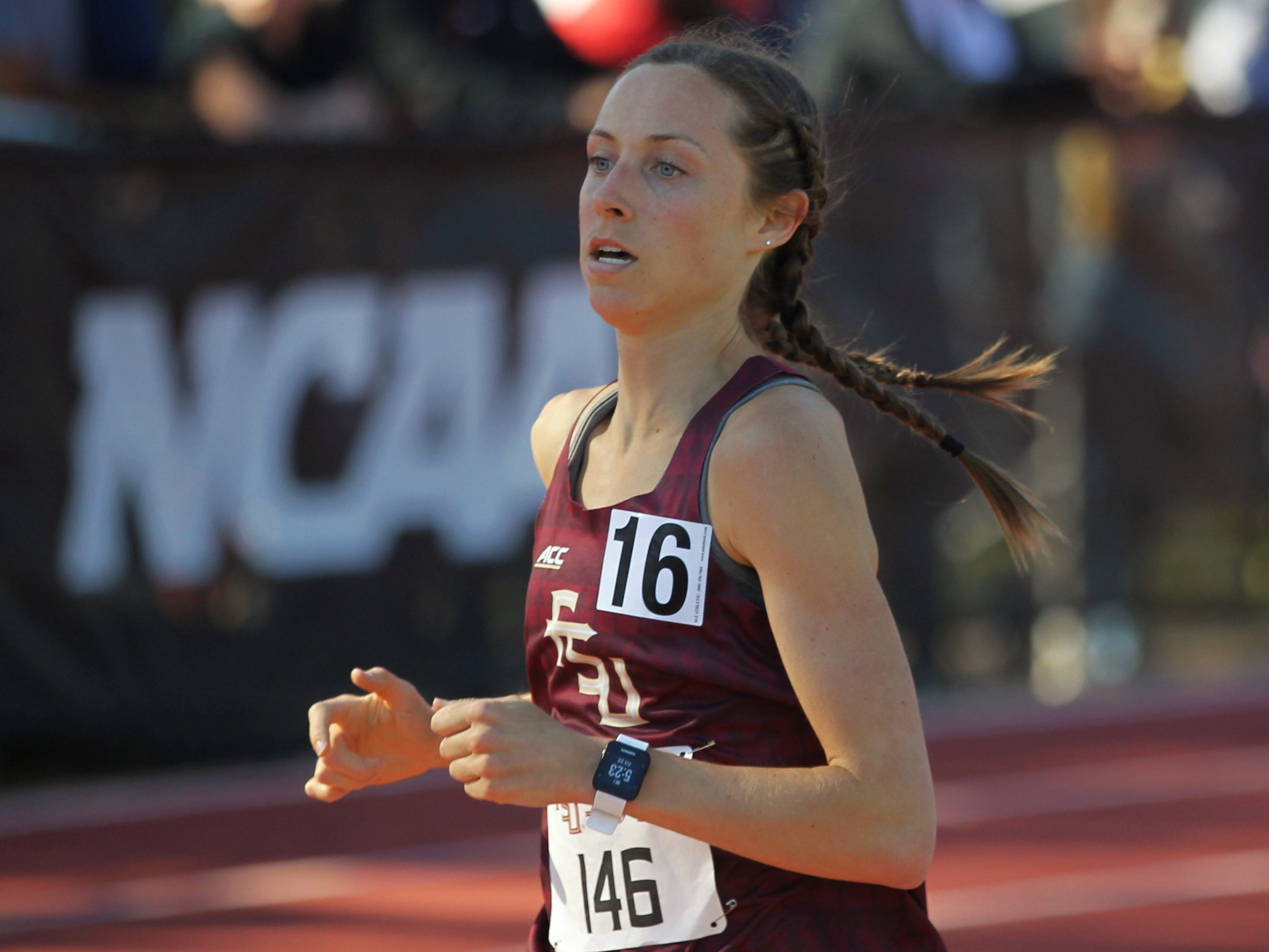 Florida State sophomore Addison Coggins races the 1500-meter run during Friday's college portion of the FSU Relays at Mike Long Track on March 22, 2019.