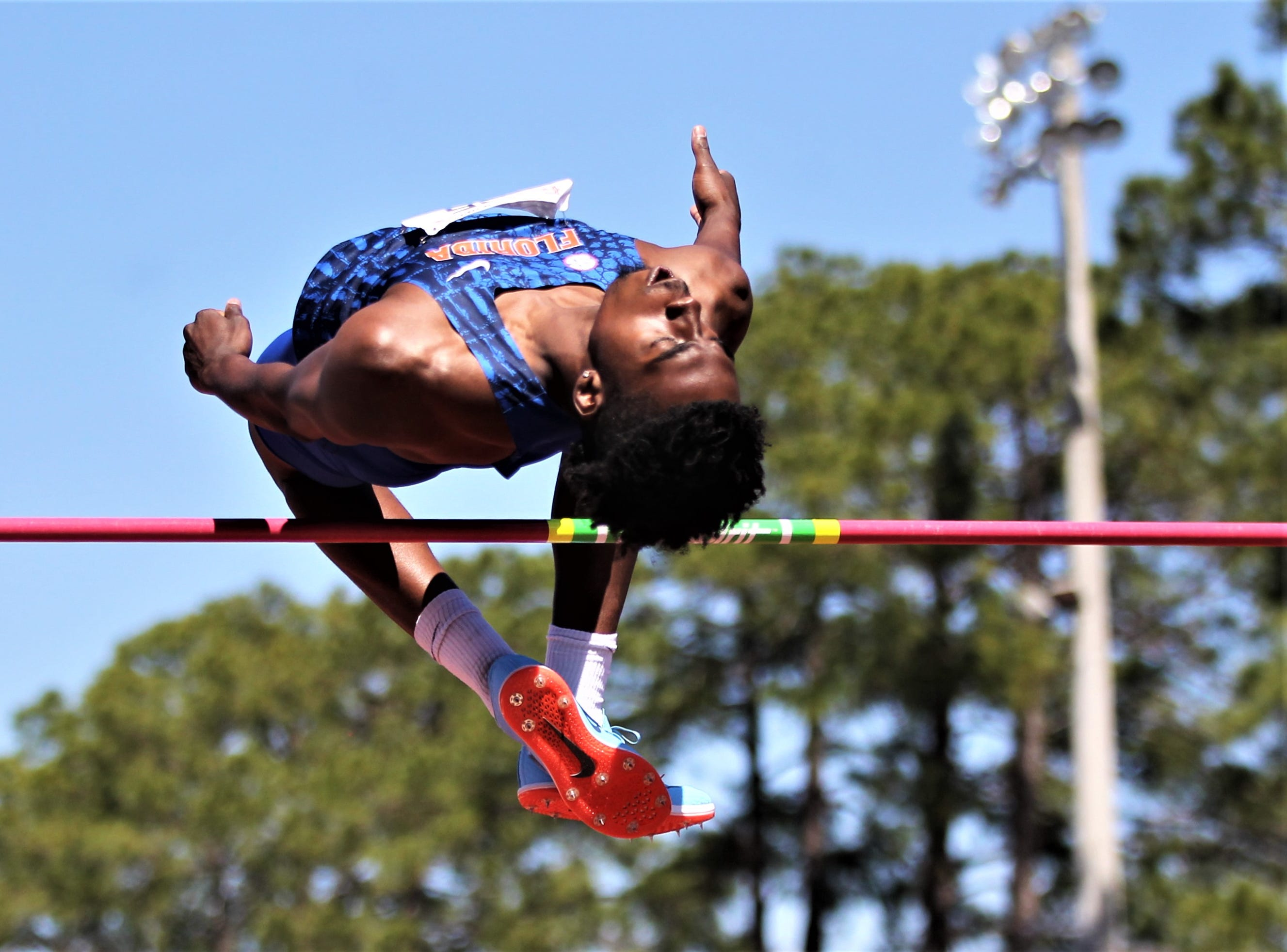 Florida senior Jhonny Victor competes in high jump during Friday's college portion of the FSU Relays at Mike Long Track on March 22, 2019.