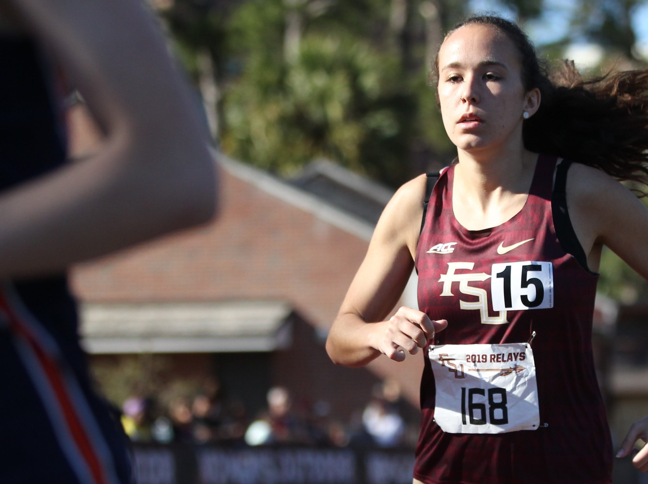 Florida State sophomore Nicole McConnell races the 1500-meter run during Friday's college portion of the FSU Relays at Mike Long Track on March 22, 2019.