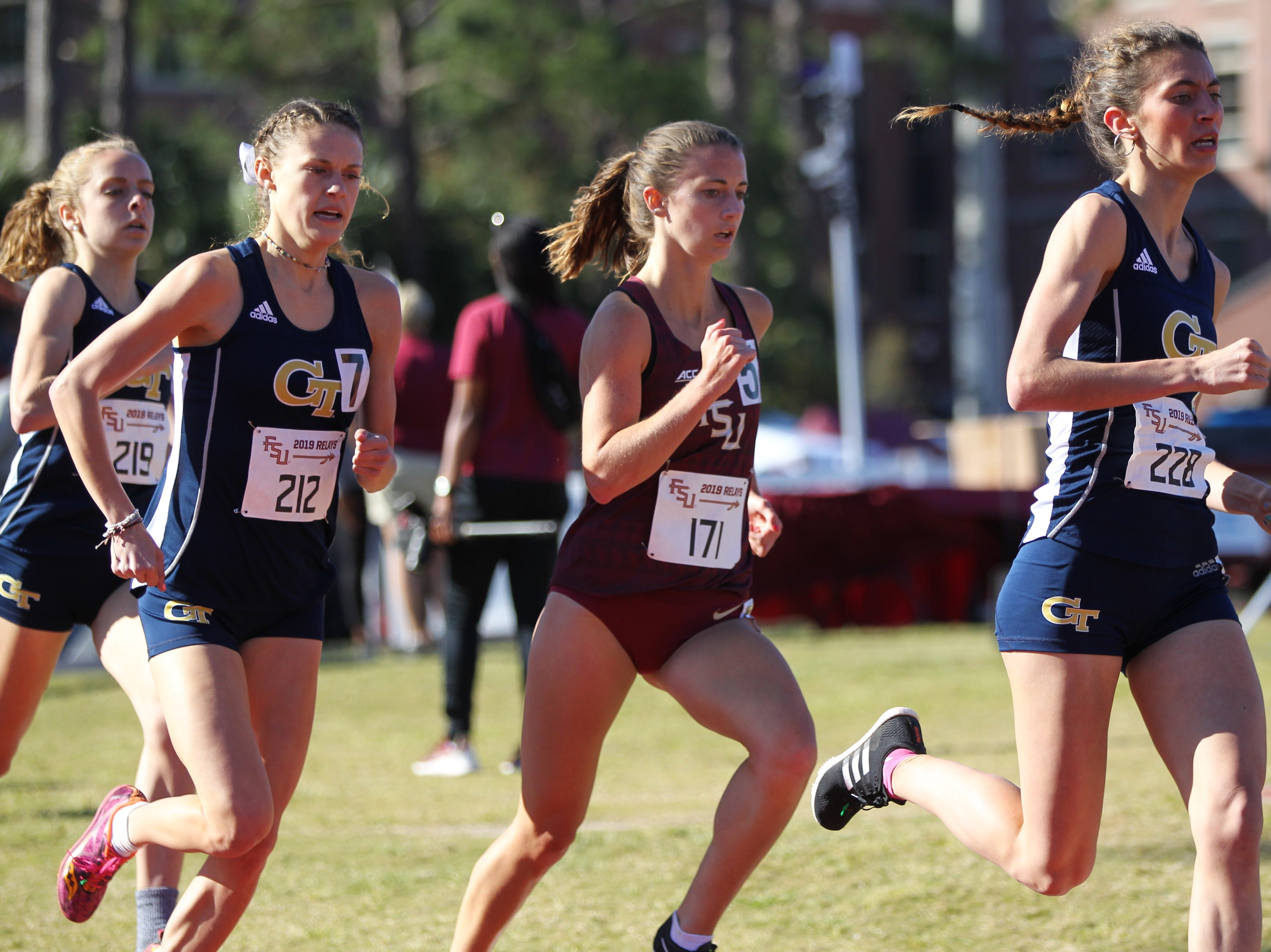 Florida State junior Megan Mooney races the 1500-meter run during Friday's college portion of the FSU Relays at Mike Long Track on March 22, 2019.