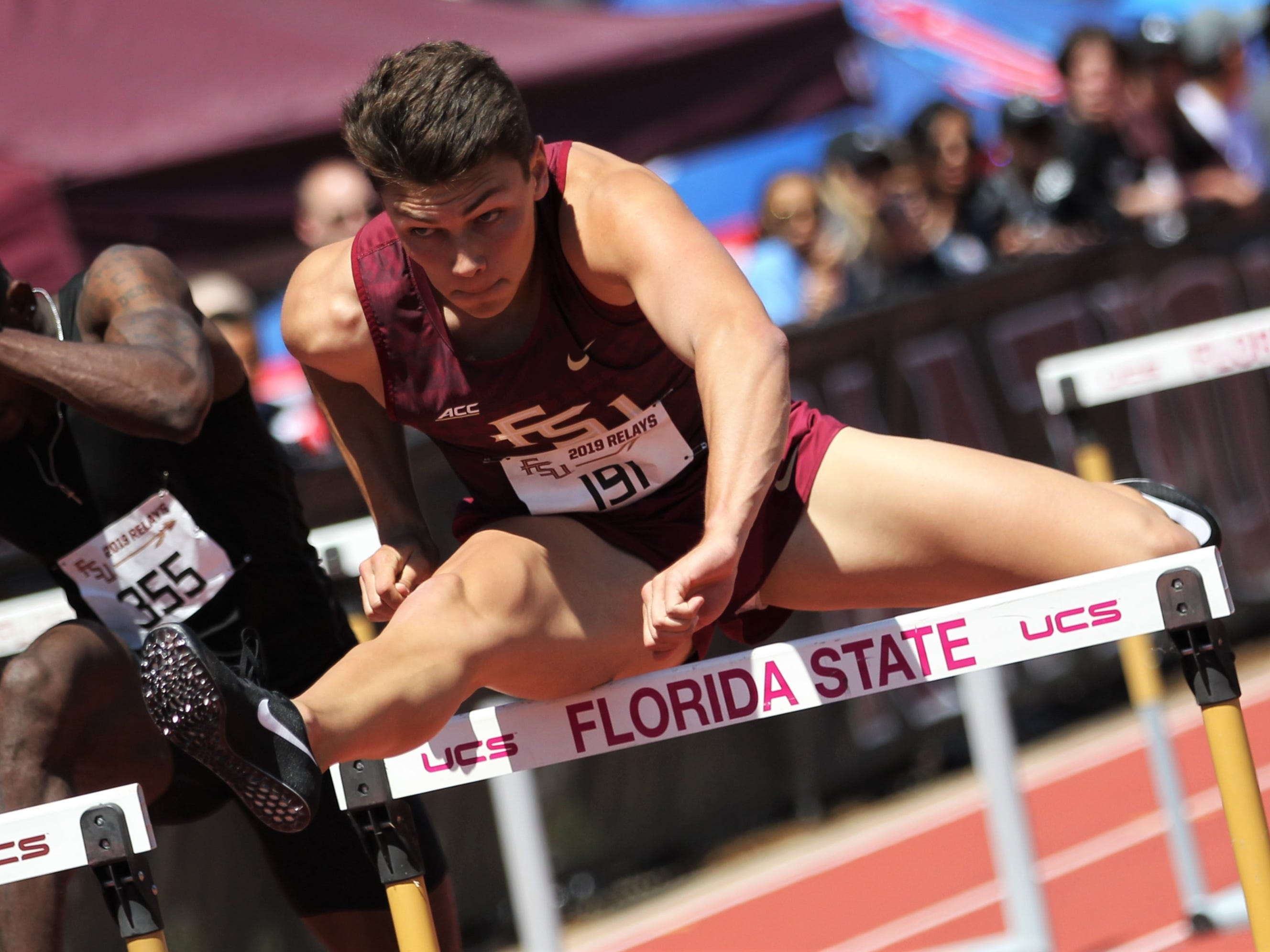 Florida State sophomore Trey Cunningham runs the 110-meter high hurdles during Friday's college portion of the FSU Relays at Mike Long Track.