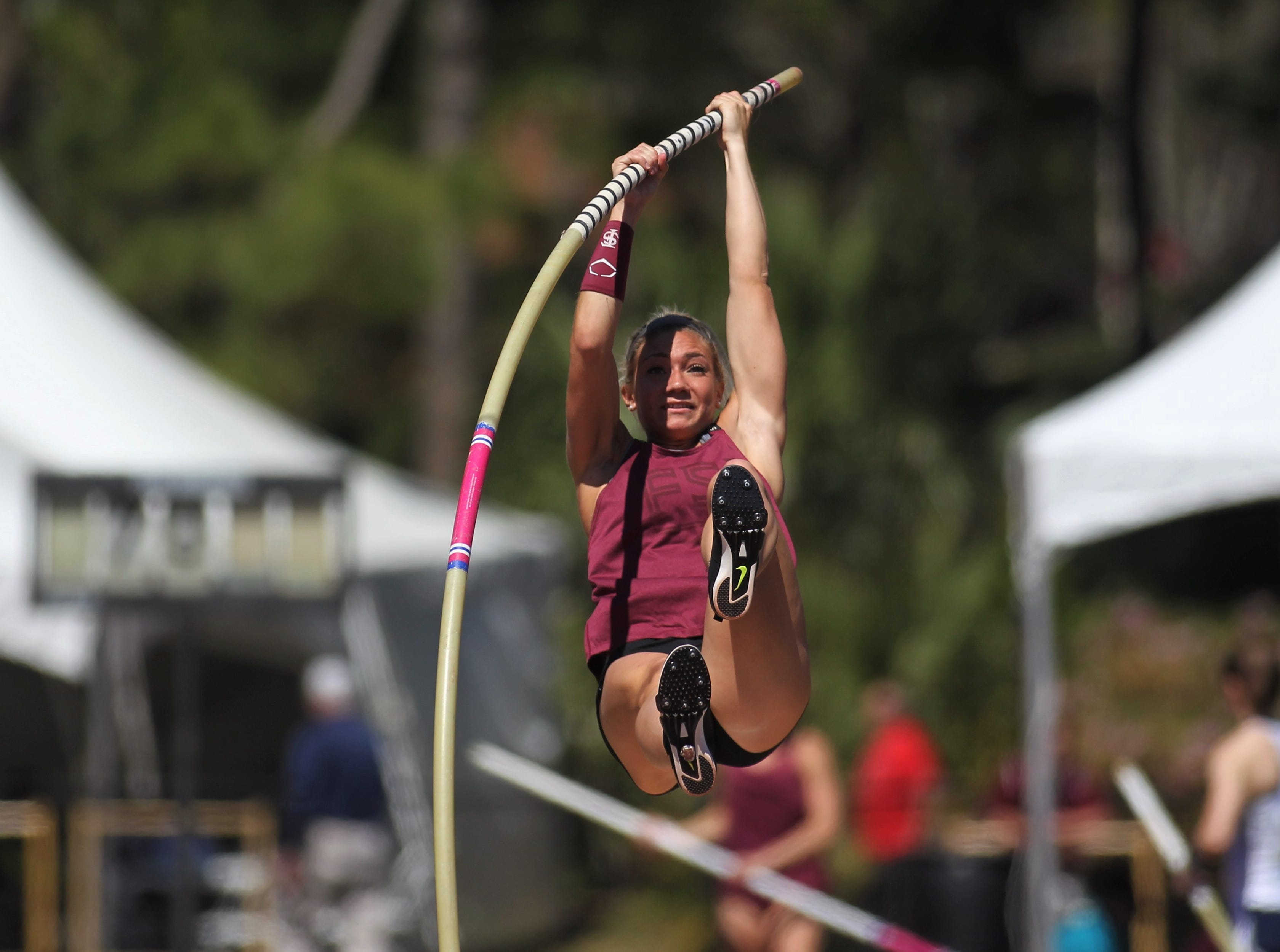 Florida State junior Nicole Breske warms up for pole vault during Friday's college portion of the FSU Relays at Mike Long Track on March 22, 2019.