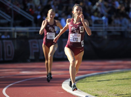 Florida State senior Militsa Mircheva leads the 1500-meter run during Friday's college portion of the FSU Relays at Mike Long Track on March 22, 2019.