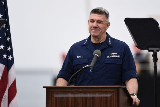 Adm. Karl Schultz, Coast Guard commandant, delivers the 2019 State of the Coast Guard Address at Coast Guard Base Los Angeles-Long Beach in San Pedro on Thursday. Strapped with an aging fleet, the U.S. Coast Guard is about to award a contract for a much-needed new icebreaker to help compete against Russia and China for a presence in the Arctic, but the service needs more funding for operations and infrastructure, he said.