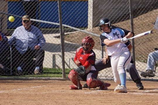 Deanna Villa, shown earlier in season, hit a three-run triple to help the Moorpark College softball team beat Ventura College 7-5 on Tuesday.
