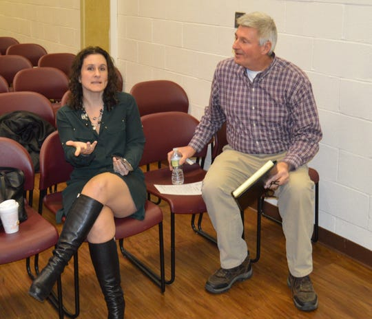 Carmel Supervisor Ken Schmitt, and Mahopac commerical property owner NIcole  Stern, conversed before the Carmel Town Board meeting on March 20.