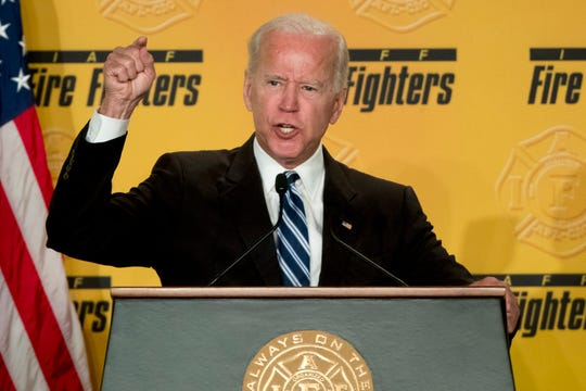 FILE - In this March 12, 2019 photo, former Vice President Joe Biden speaks to the International Association of Firefighters at the Hyatt Regency on Capitol Hill in Washington. As the former vice president inches closer toward a third White House run, several moments in his long career loom as immediate political liabilities should he decide to join a Democratic primary already stocked with more than a dozen candidates. From his vote for the Iraq war to his key role in passing a bill that made bankruptcy harder to declare for debt-ridden Americans, Biden would have multiple fronts on which to reconcile his past with the future of a party that's moved leftward even since he left former President Barack Obama's administration. (AP Photo/Andrew Harnik)