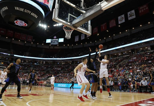 Sheridan's Landen Russell puts up a shot during the Division II state semis against Columbus South on Thursday.