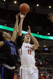 Sheridan's Luken Hill puts up a shot during the Division II state semis against Columbus South on Thursday.