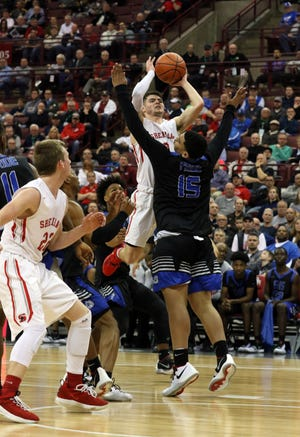 Sheridan's Ethan Heller puts up a shot during the Division II state semis against Columbus South on Thursday.