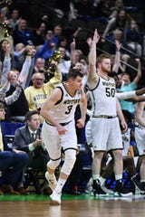 Wofford Terriers guard Fletcher Magee (3) celebrates after a 3-pointer against the Seton Hall Pirates.