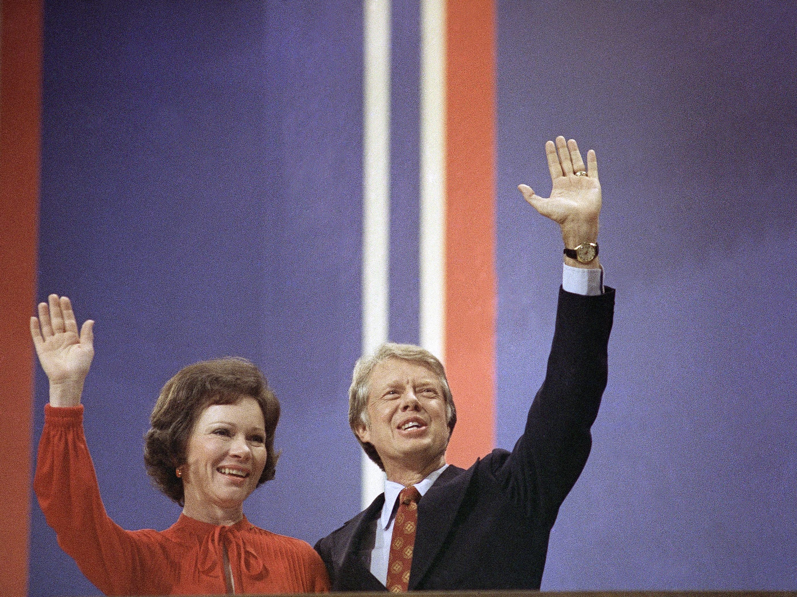 Jimmy Carter with wife Rosalynn at the Democratic National Convention at Madison Square Garden in New York on July 15, 1976.