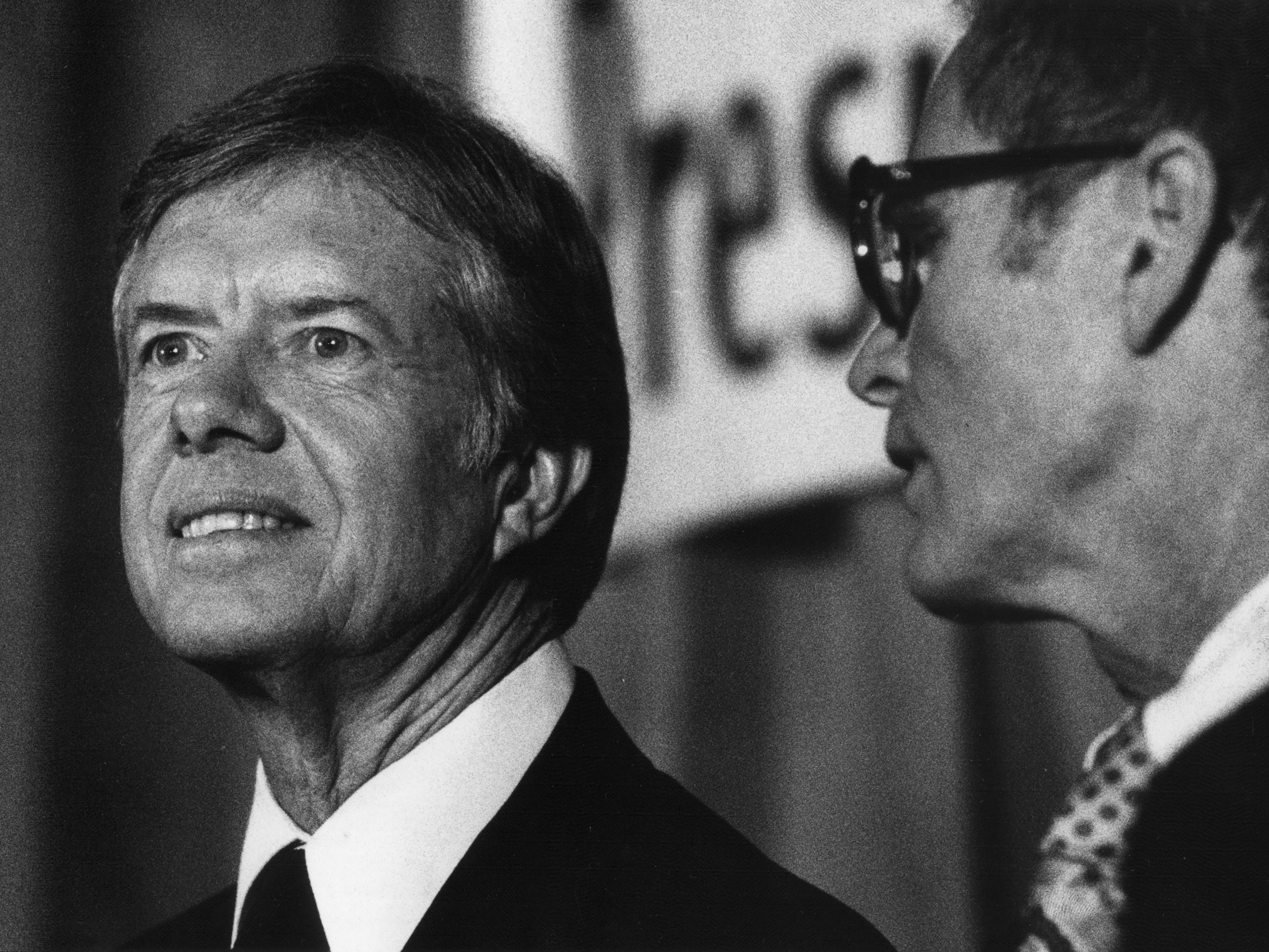 President Carter listens to speakers during a conference held in East Rutherford, N.J on Oct. 25, 1979.