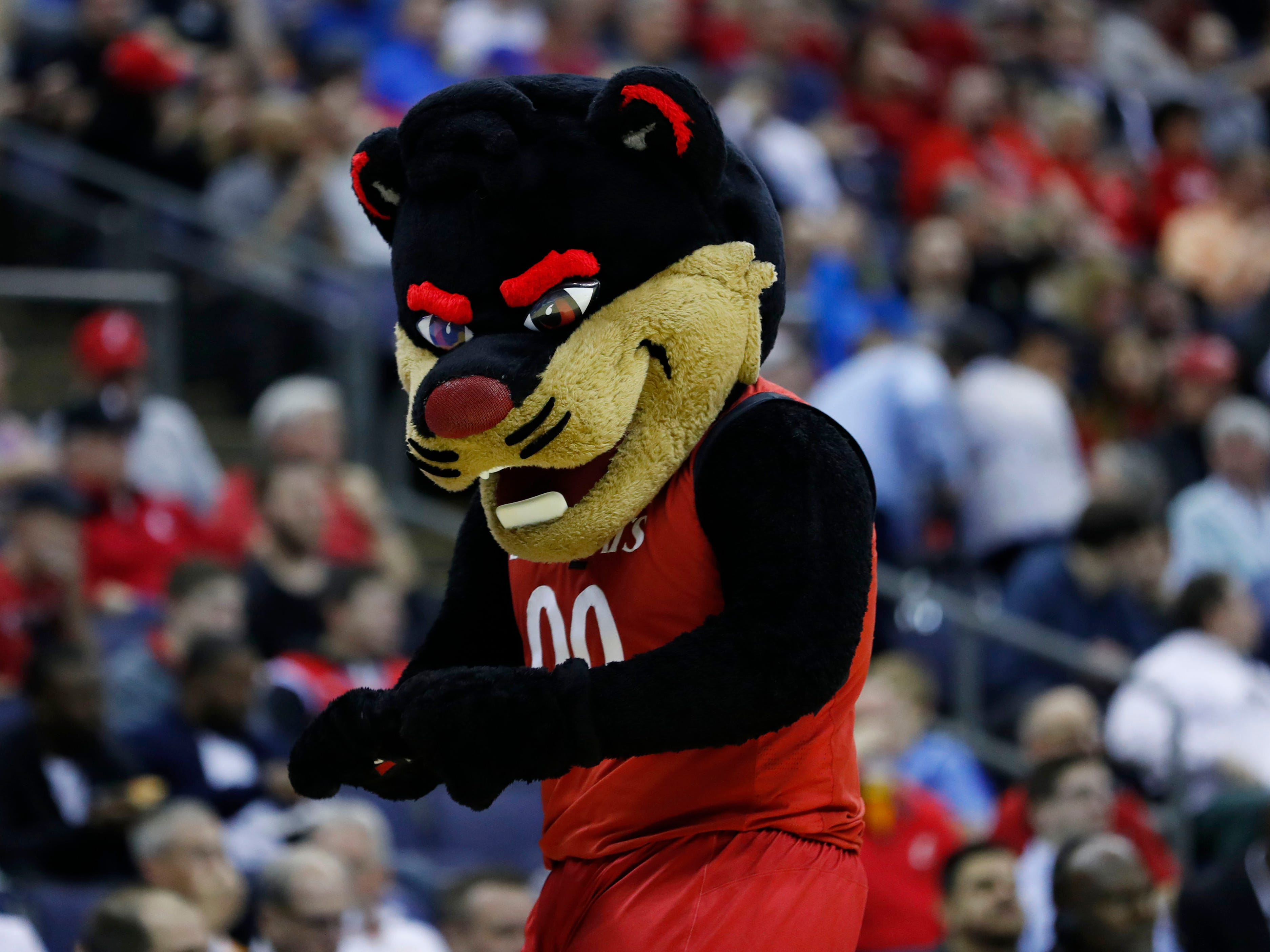 First round: The Cincinnati Bearcats mascot during the game against the Iowa Hawkeyes.