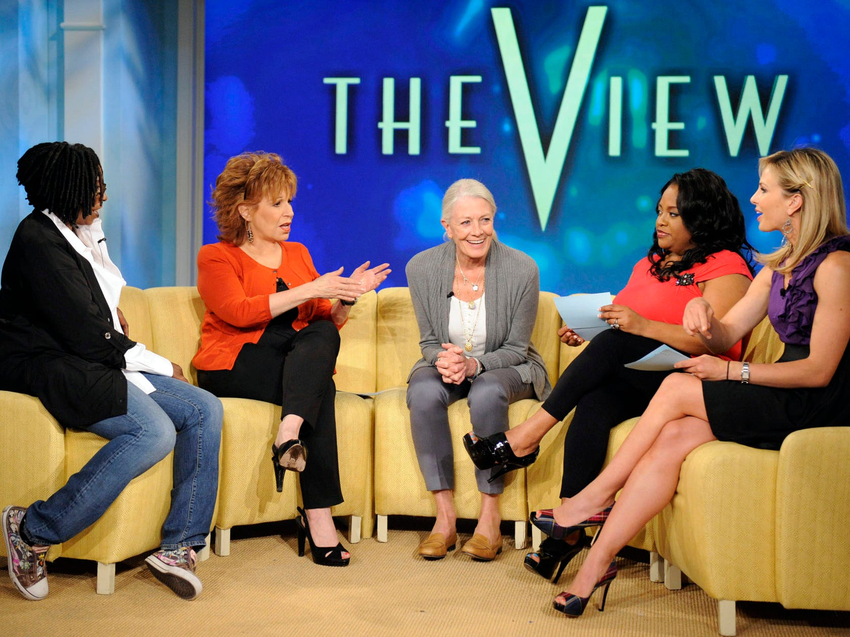 "Actress Vanessa Redgrave, center, with Whoopi Goldberg, far left, Joy Behar, Sherri Shepherd and Elisabeth Hasselbeck for an episode of ""The View,"" which aired May 14, 2010."