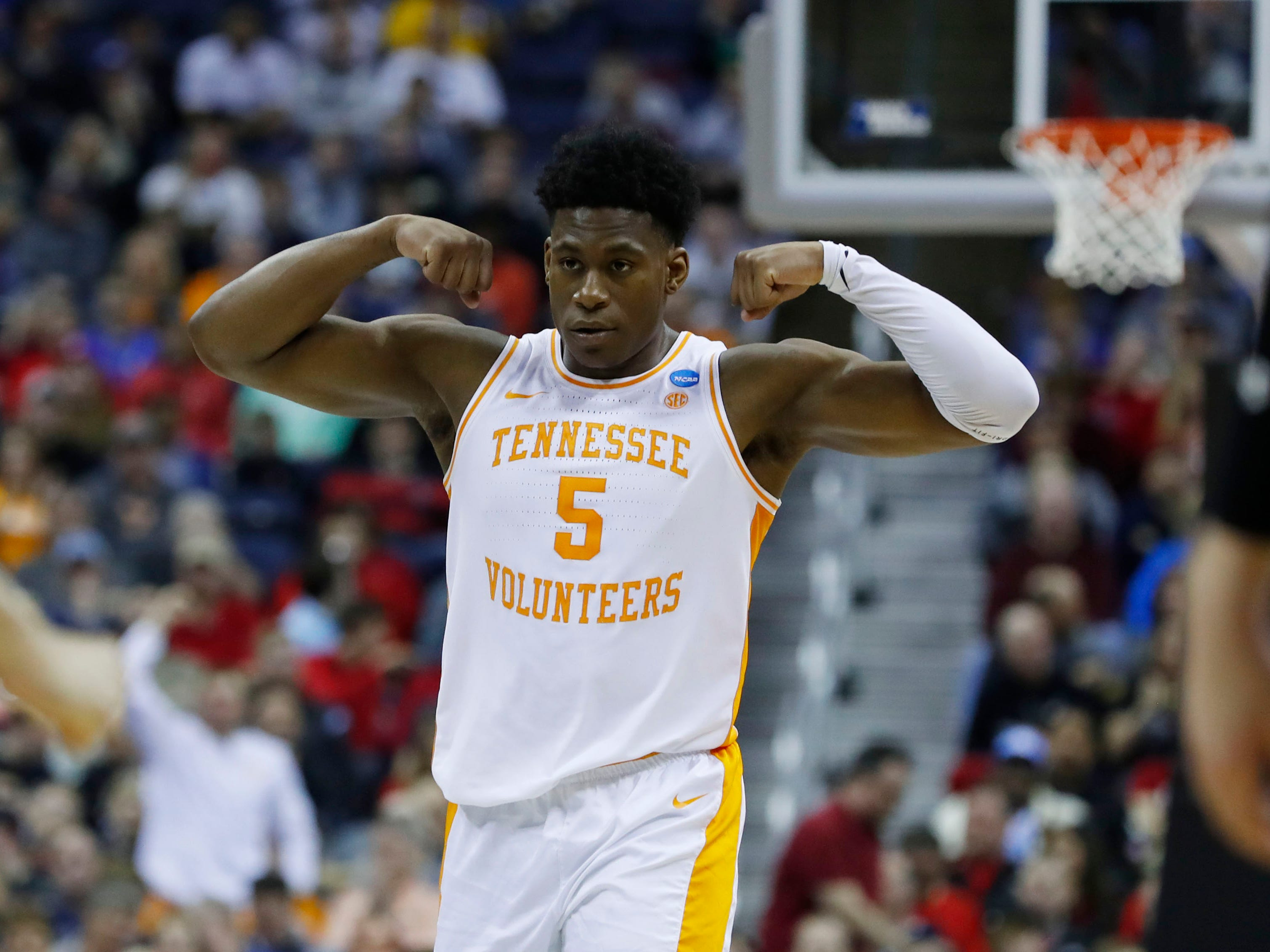 First round: Tennessee guard Admiral Schofield flexes during the Volunteers' win over the Colgate Raiders.