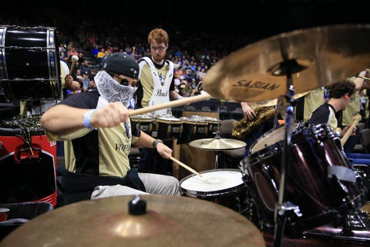 First round: Members of the Wofford Terriers band preform during a stoppage in play in the first half against Seton Hall.
