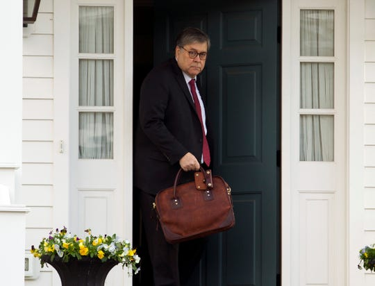 Attorney General William Barr leaves his home in McLean, Va., on Friday, March 22, 2019. Special Counsel Robert Mueller is expected to present a report to the Justice Department any day now outlining the findings of his nearly two-year investigation into Russian election meddling, possible collusion with Trump campaign officials and possible obstruction of justice by Trump .