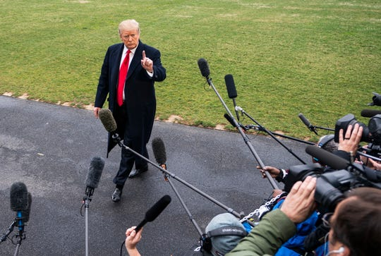 President Donald J. Trump speaks to the media as he departs the White House for his Mar-a-Lago resort in Washington, DC, on March 22, 2019.