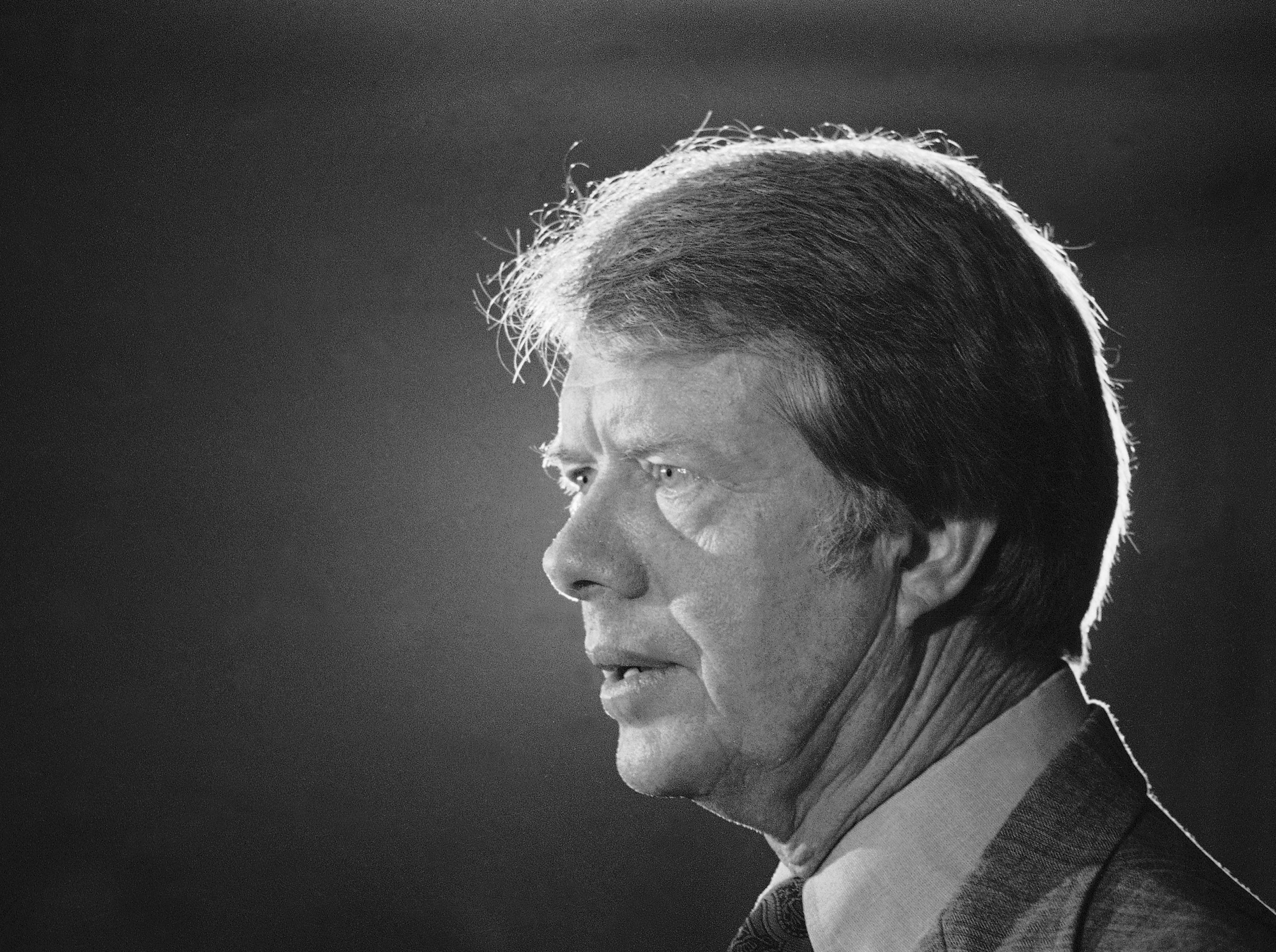 Jimmy Carter speaks at a Latino caucus in the Americana Hotel in New York, on July 14, 1976.