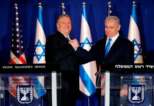 Israeli Prime Minister Benjamin Netanyahu welcomes Secretary of State Mike Pompeo to his residence in Jerusalem on March 21, 2019.