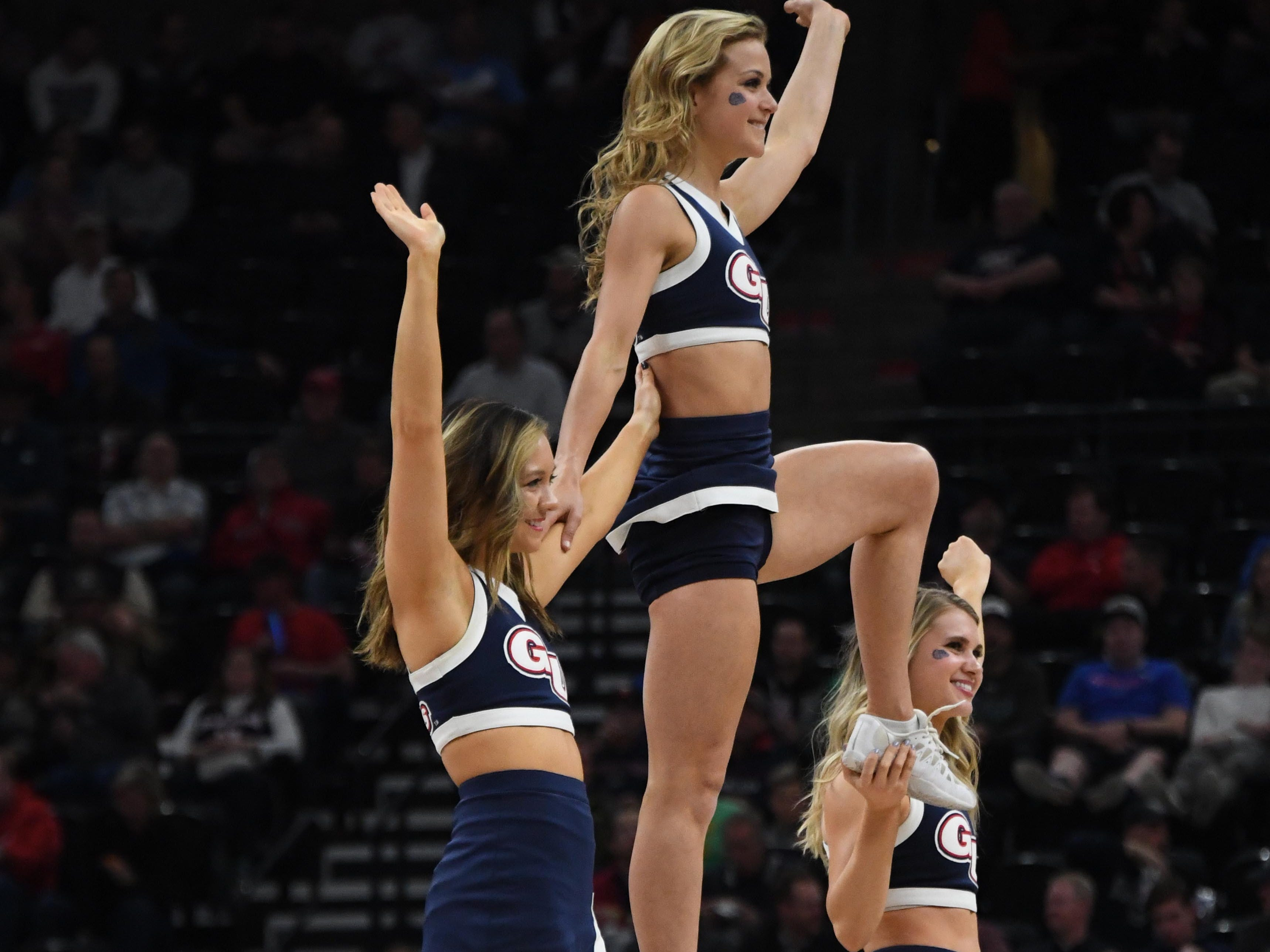 First round:The Gonzaga Bulldogs cheerleaders perform during the game against the Fairleigh Dickinson Knights.